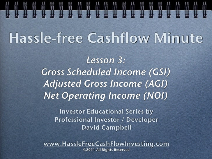 Hassle-free Cashflow Minute              Lesson 3:    Gross Scheduled Income (GSI)    Adjusted Gross Income (AGI)    Net O...