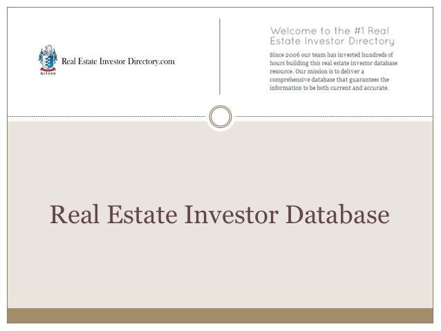 Real Estate Investor Database