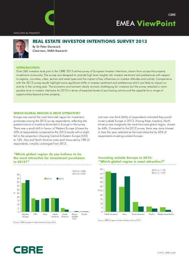 EMEAwww.cbre.eu/research                       REAL ESTATE INVESTOR INTENTIONS SURVEY 2013                       By Dr Pet...
