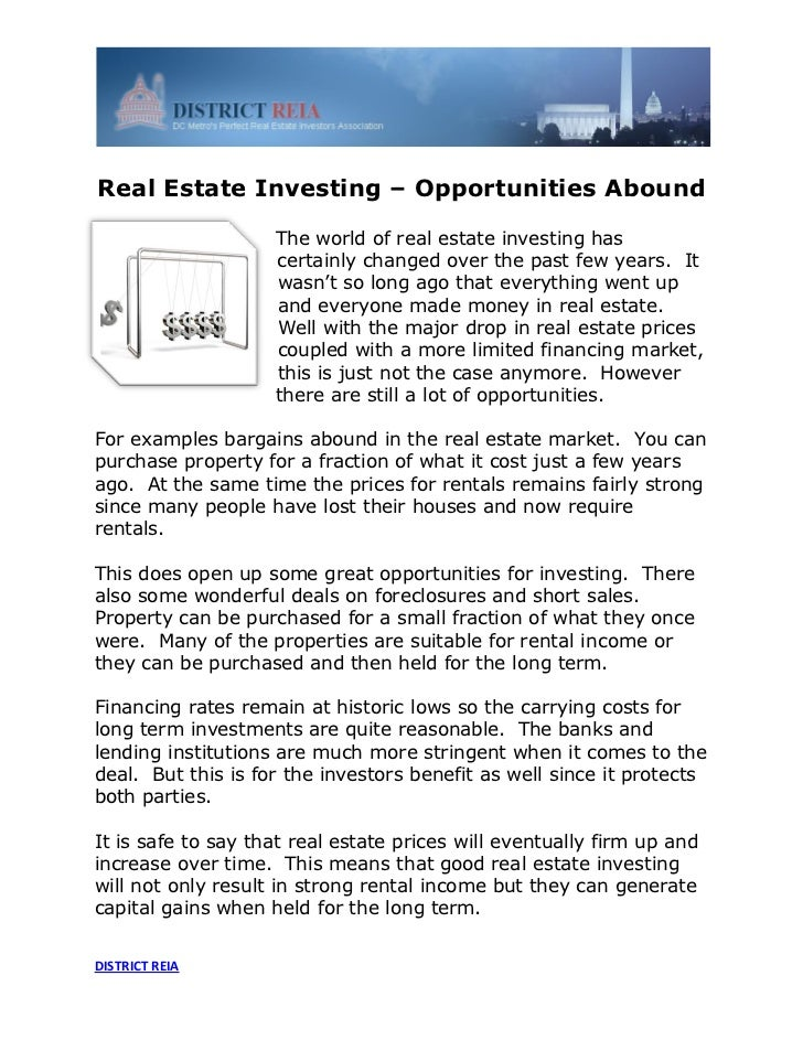 Real Estate Investing – Opportunities Abound                    The world of real estate investing has                    ...