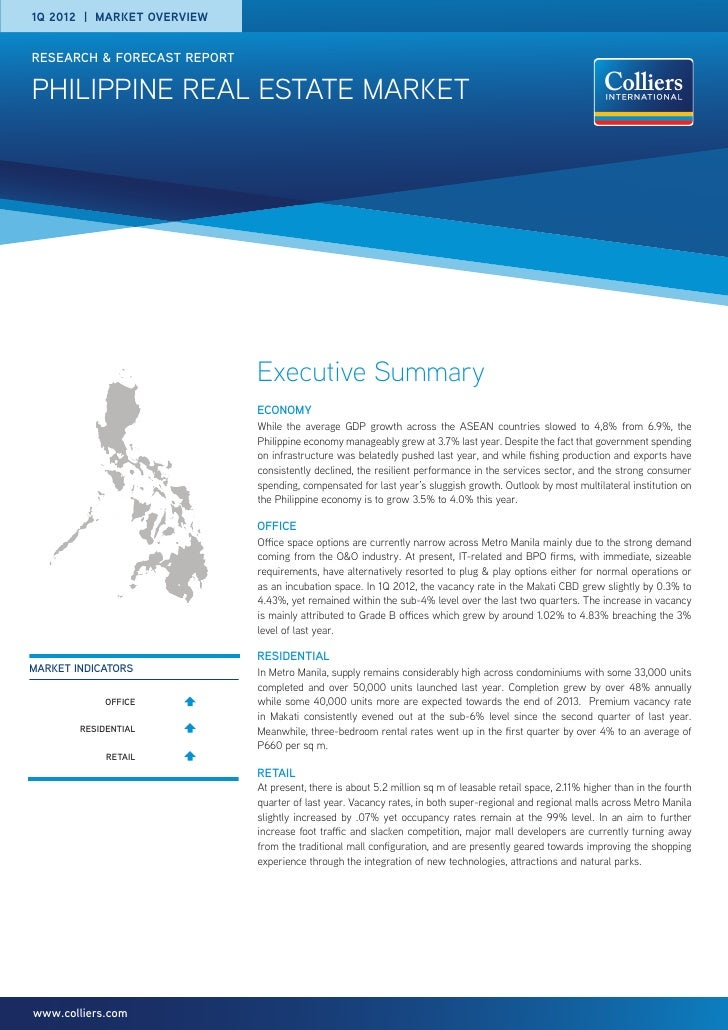 1q 2012 | Market overviewresearch & forecast reportpHILIPPINE real estate market                             Executive Sum...