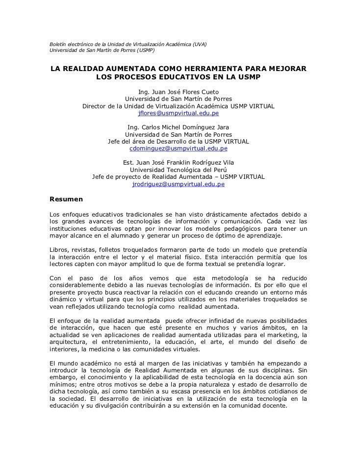 Boletín electrónico de la Unidad de Virtualización Académica (UVA)Universidad de San Martín de Porres (USMP)LA REALIDAD AU...