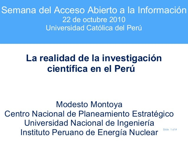 La realidad de la investigación científica en el Perú