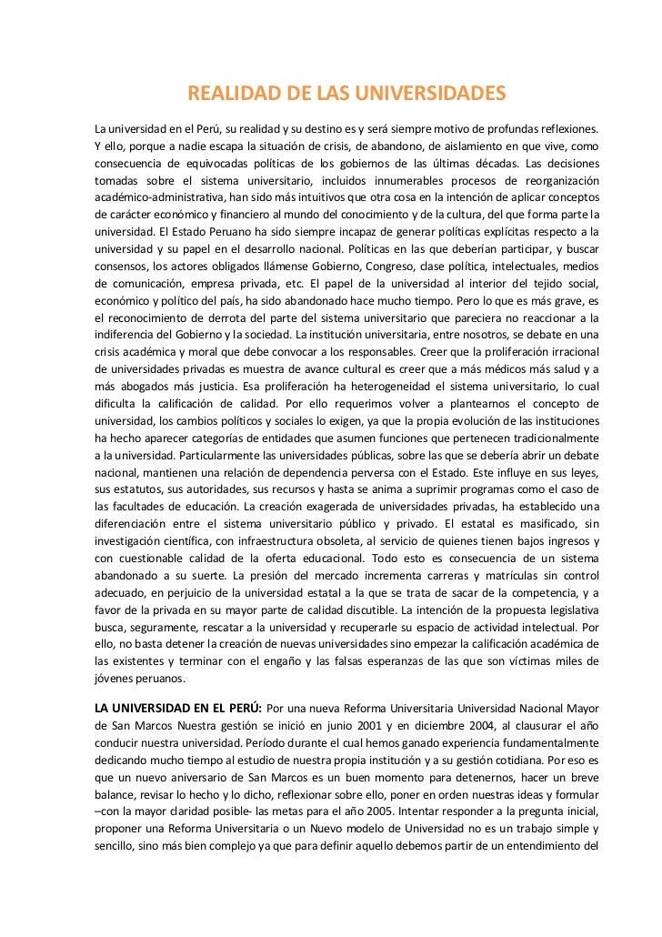 REALIDAD DE LAS UNIVERSIDADES<br />La universidad en el Perú, su realidad y su destino es y será siempre motivo de profund...