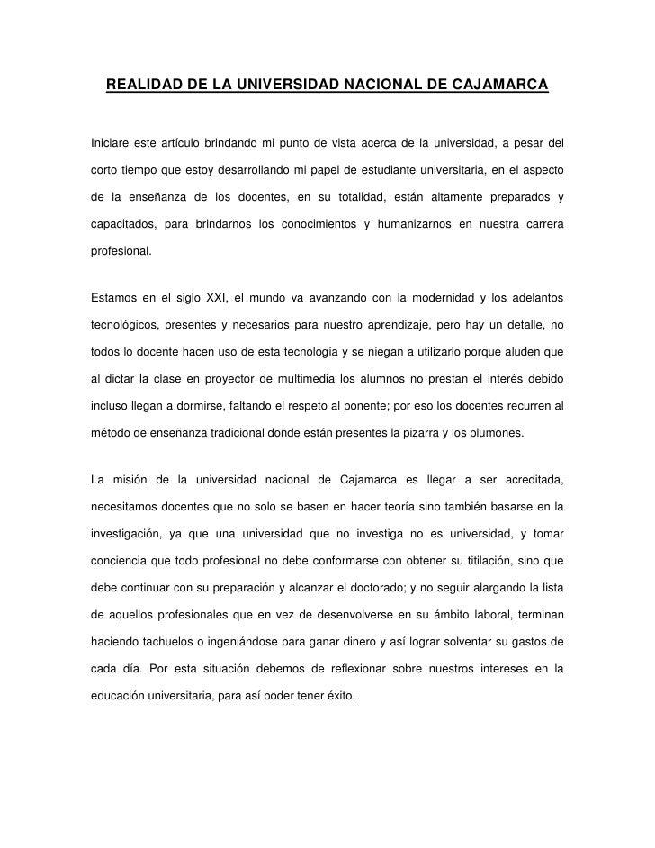 Realidad de la universidad nacional de cajamarca.nycol mondragón roncal.