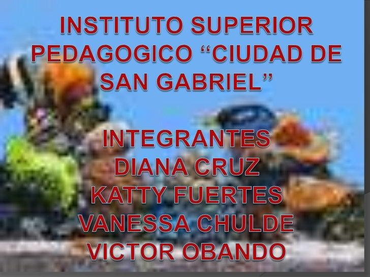 "INSTITUTO SUPERIOR PEDAGOGICO ""CIUDAD DE SAN GABRIEL""INTEGRANTESDIANA CRUZKATTY FUERTESVANESSA CHULDEVICTOR OBANDO<br />"