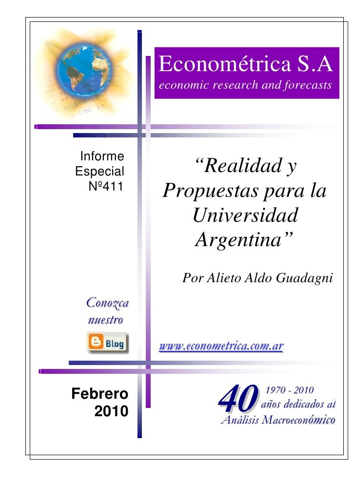 """Econométrica S.A            economic research and forecasts      Informe Especial      """"Realidad y    Nº411   Propuestas p..."""