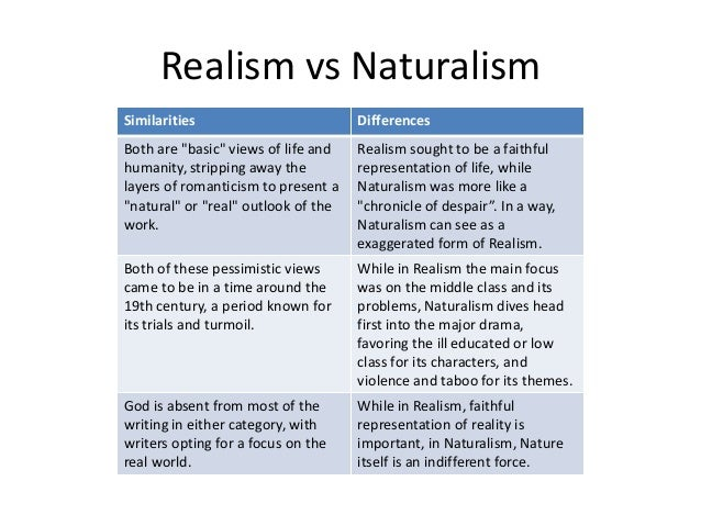 romanticism vs realism This ppt lesson introduces students to the concepts of romanticism (as a reaction to the industrial revolution) and or realism (as a reaction to romanticism) students apply characteristics of the themes to samples of visual artwork, novels, and music in order.