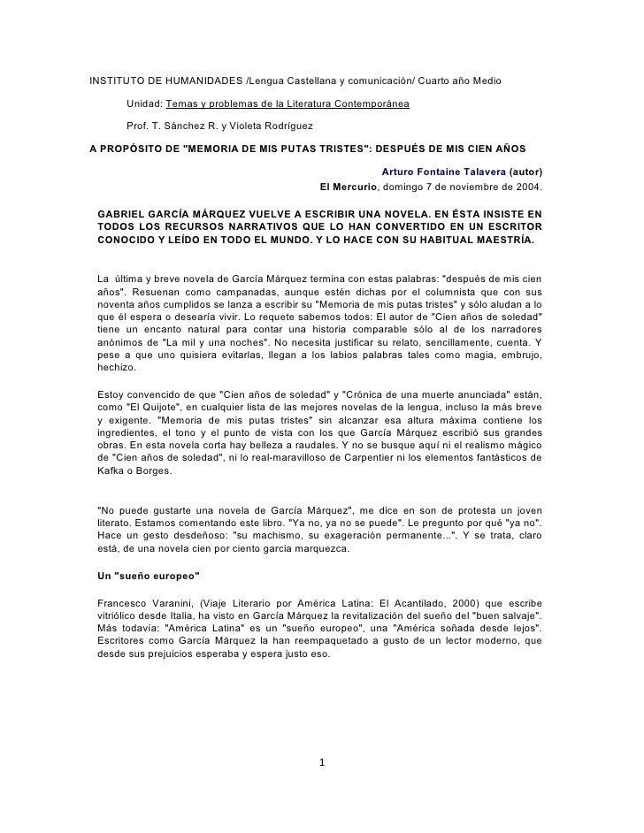 INSTITUTO DE HUMANIDADES /Lengua Castellana y comunicación/ Cuarto año Medio         Unidad: Temas y problemas de la Liter...