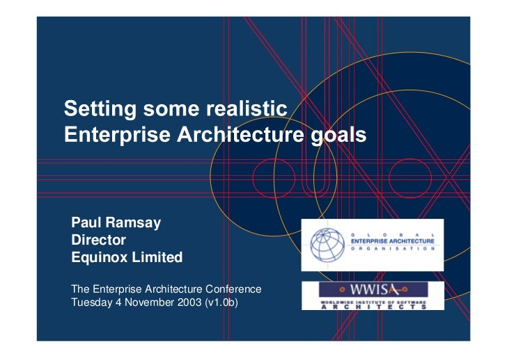 Paul Ramsay Director Equinox Limited  The Enterprise Architecture Conference Tuesday 4 November 2003 (v1.0b)