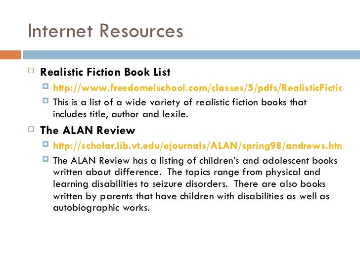 Realistic Fiction Book Report Template of Realistic Fiction Books