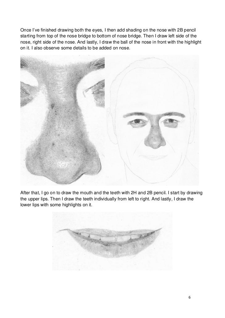 how to draw nose for realistic pencil portrait