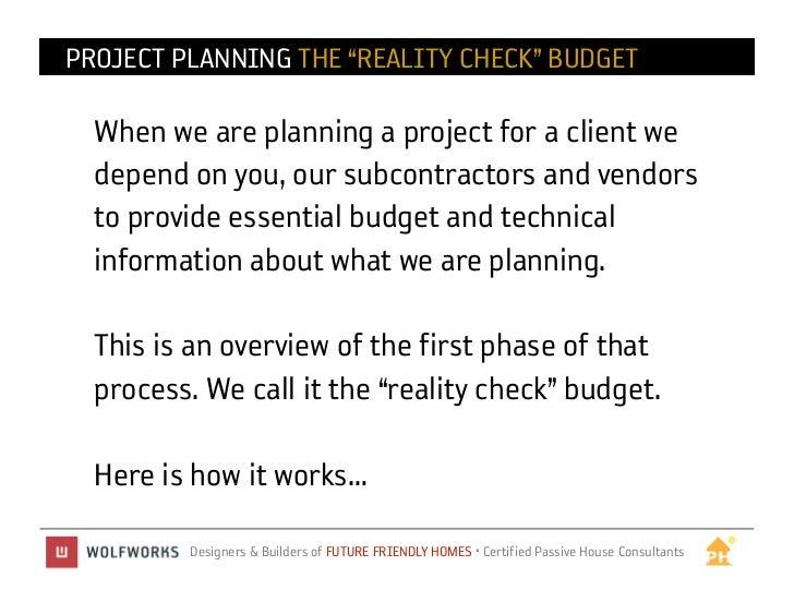Reality Check Budget