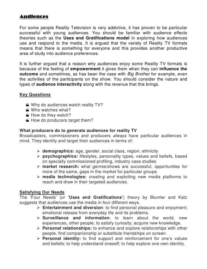 Essay on reality tv