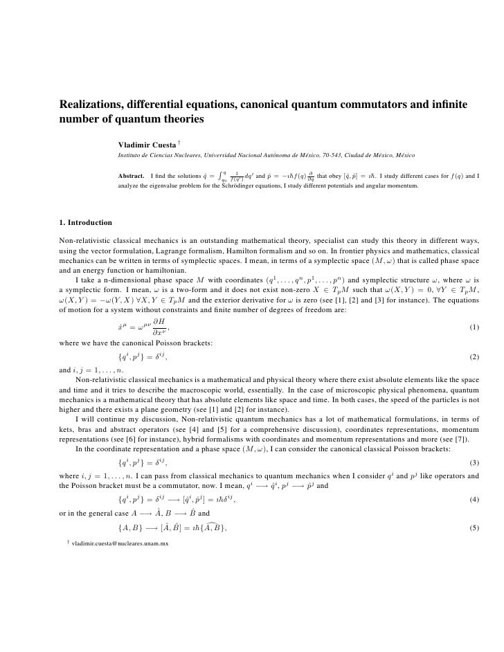 Realizations, Differential Equations, Canonical Quantum Commutators And Infinite Number Of Quantum Theories