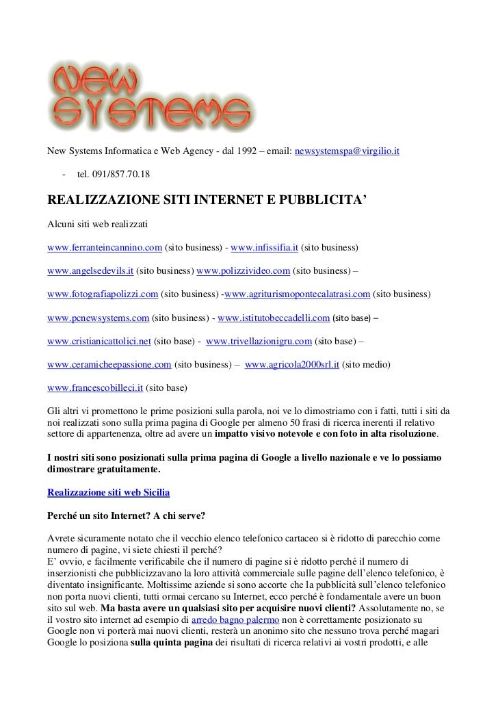 New Systems Informatica e Web Agency - dal 1992 – email: newsystemspa@virgilio.it    -   tel. 091/857.70.18REALIZZAZIONE S...