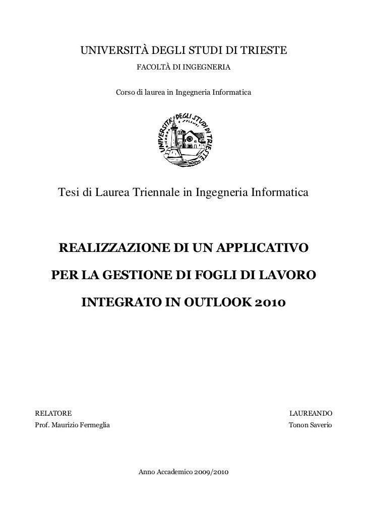 UNIVERSITÀ DEGLI STUDI DI TRIESTE                                 FACOLTÀ DI INGEGNERIA                           Corso di...