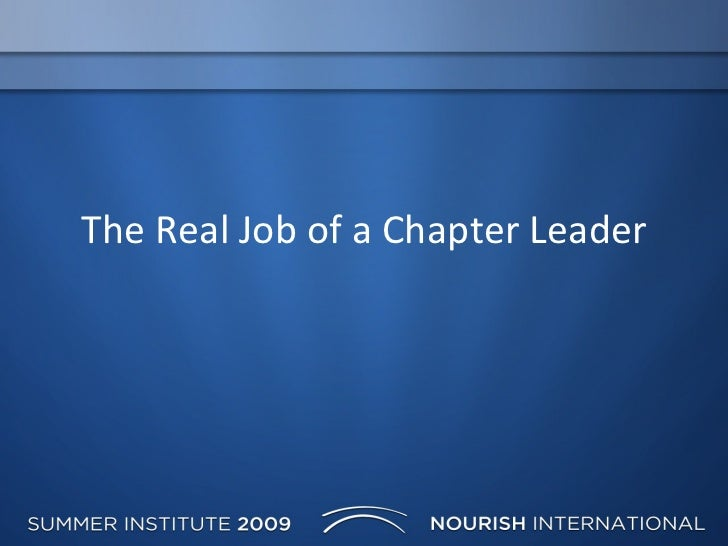 Real Job Chapter Leader1