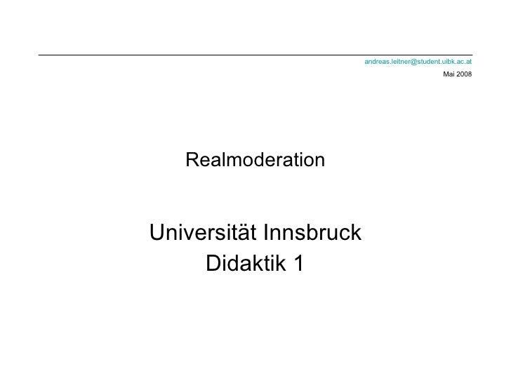 Realmoderation Universität Innsbruck Didaktik 1