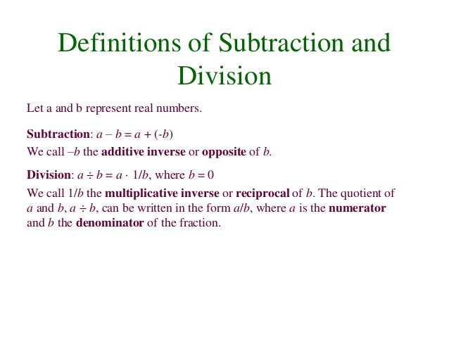 Division of Real Numbers b Represent Real Numbers