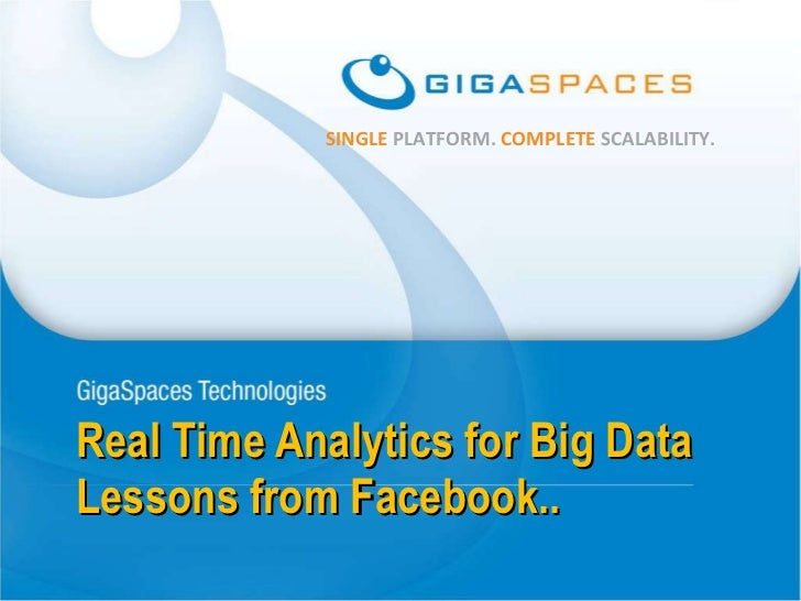 Real Time Analytics for Big Data Lessons from Facebook..