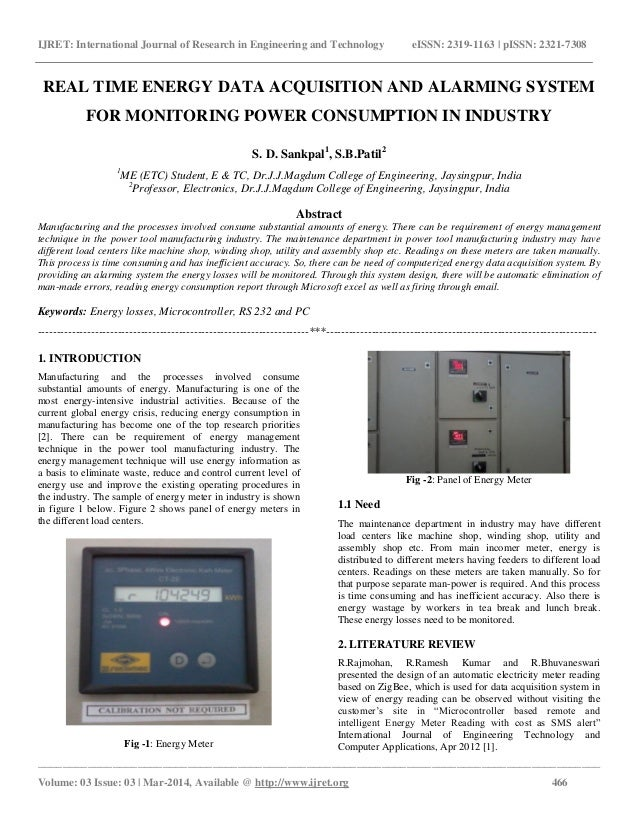 Energy Use Monitoring Systems : Real time energy data acquisition and alarming system for