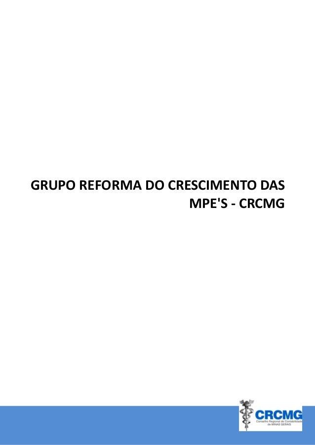 PROPOSTAS PARA  CRESCIMENTO DAS MPE'S - CRCMG