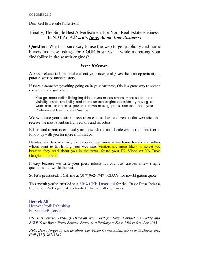 Realtor Press Release Offer October 2013