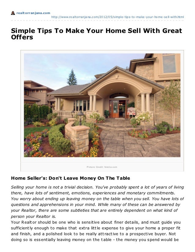 Realtorranjana.com Simple Tips To Make Your Home Sell With Great Offers