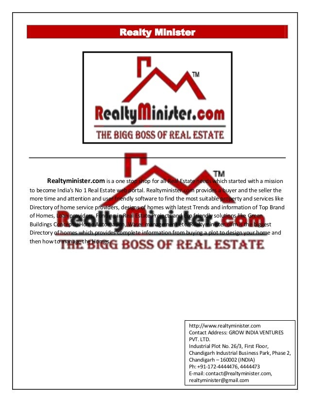 Realty Minister Realtyminister.com is a one stop shop for all Real Estate needs which started with a mission to become Ind...