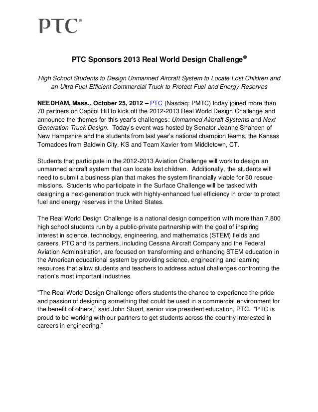 PTC Sponsors 2013 Real World Design Challenge®High School Students to Design Unmanned Aircraft System to Locate Lost Child...