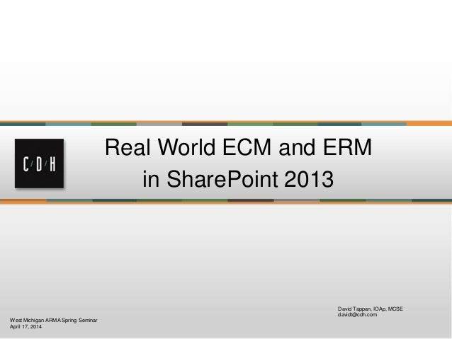 Real world rm in share point 2013