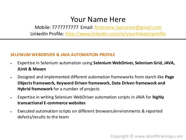 Experience On Selenium Webdriver Resume