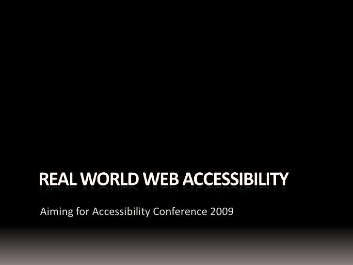 Real World Web Accessibility