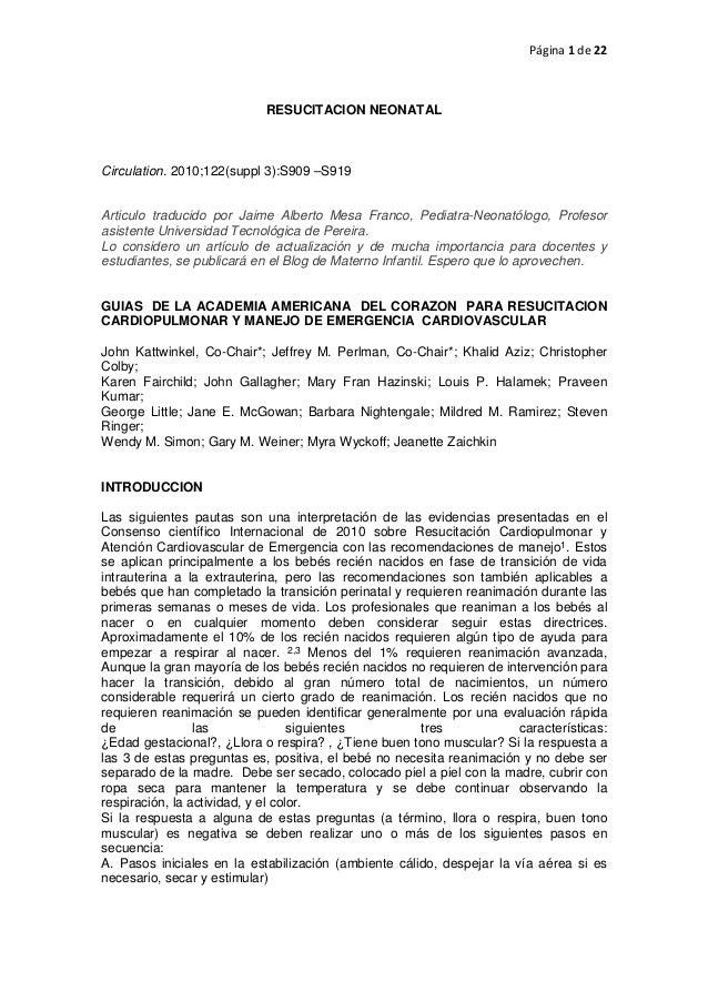 Página 1 de 22                            RESUCITACION NEONATALCirculation. 2010;122(suppl 3):S909 –S919Articulo traducido...