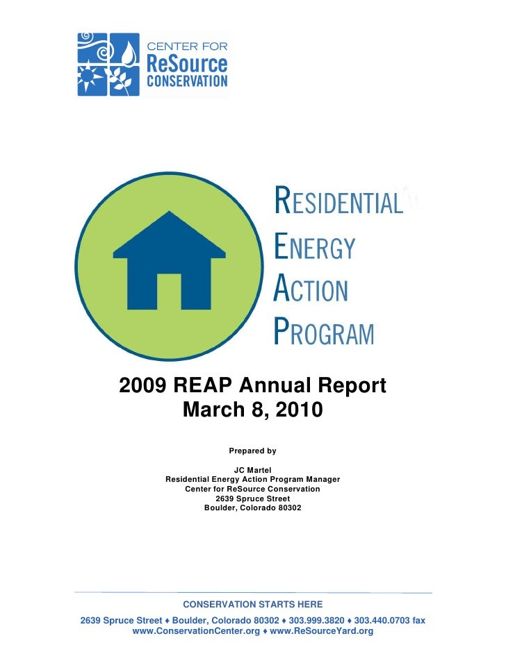 2009 REAP Annual Report              March 8, 2010                                 Prepared by                            ...