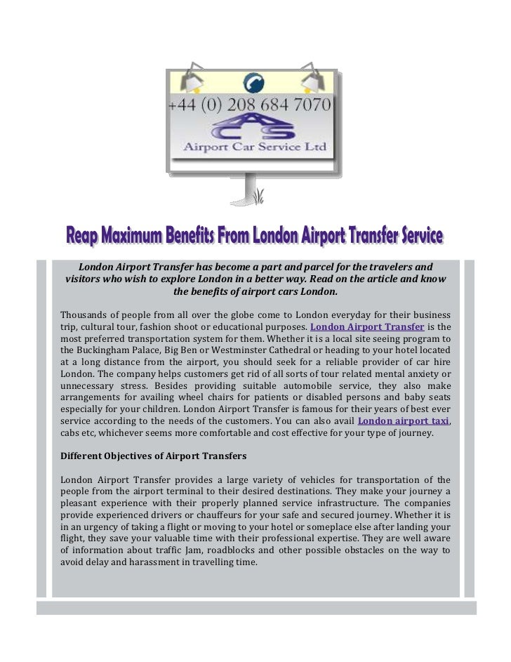 Reap Maximum Benefits From London Airport Transfer Service