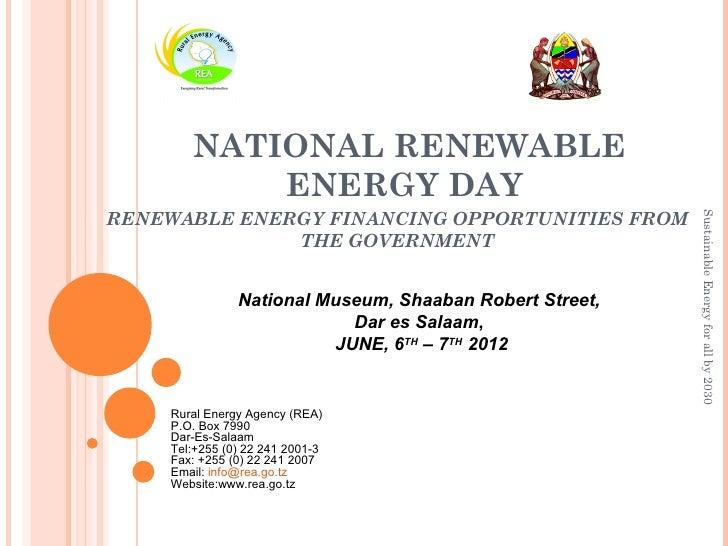 NATIONAL RENEWABLE           ENERGY DAYRENEWABLE ENERGY FINANCING OPPORTUNITIES FROM                                      ...