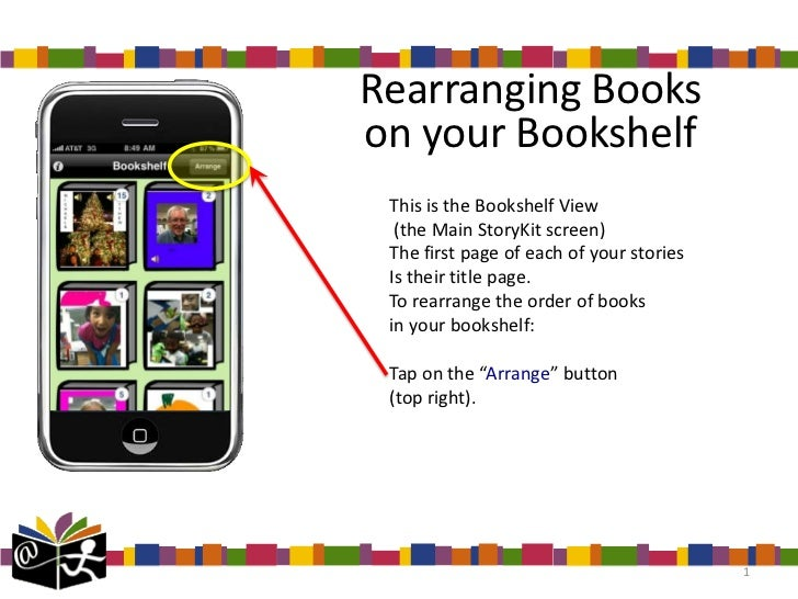 Rearranging Bookson your Bookshelf This is the Bookshelf View  (the Main StoryKit screen) The first page of each of your s...