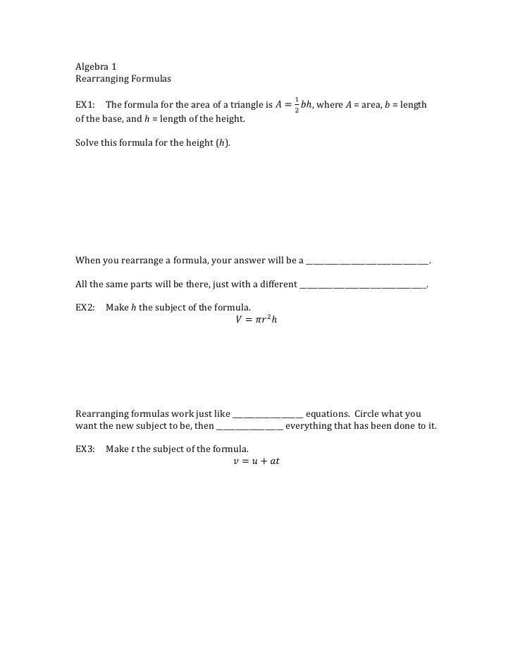 Rearranging formulas A1