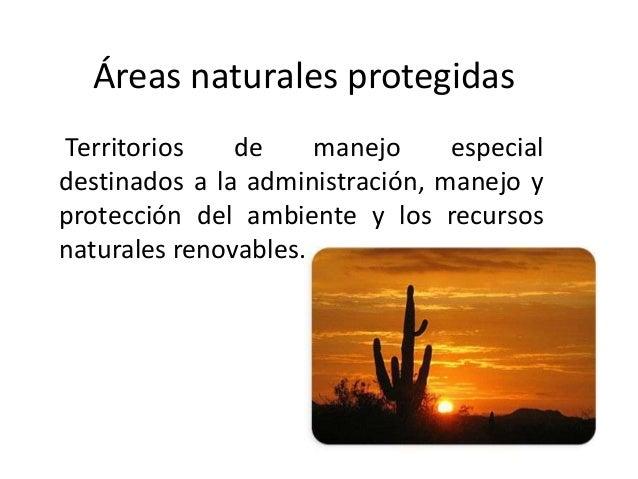 Áreas naturales protegidasTerritorios de manejo especialdestinados a la administración, manejo yprotección del ambiente y ...