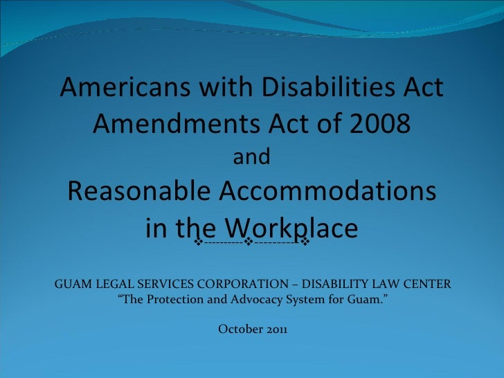 Reasonable accommodations oct 2011 edits