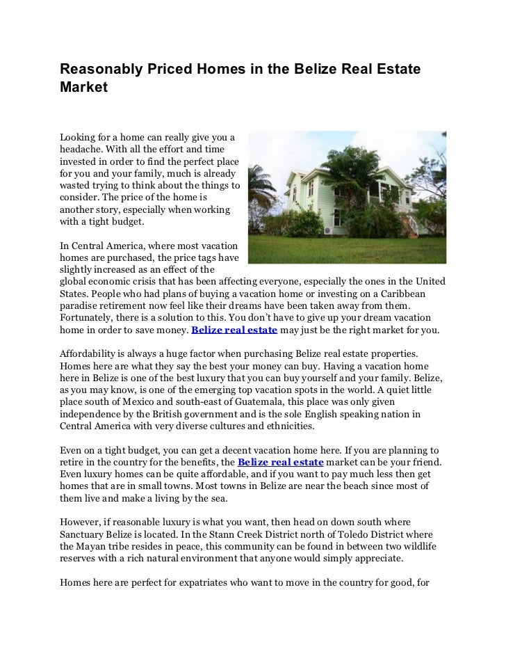 Belize real estate reasonably priced retirement homes