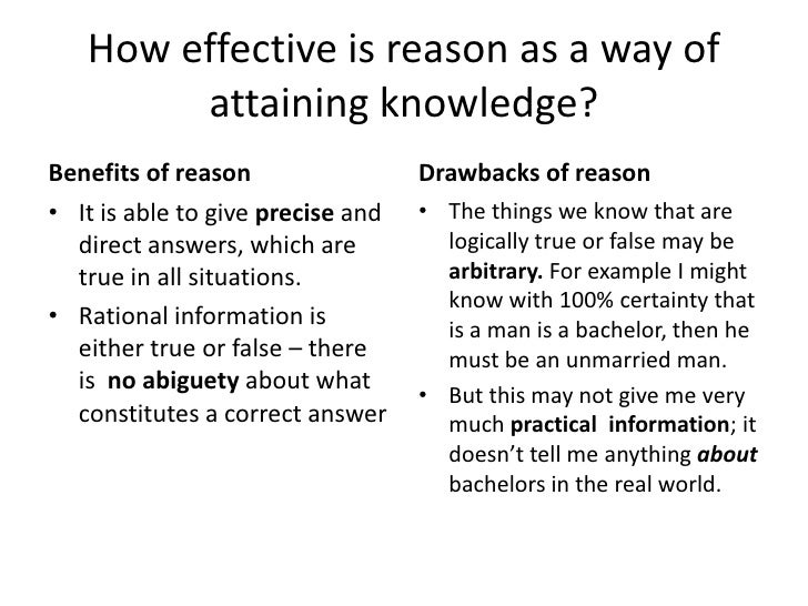 Theory of knowledge question on REASON?