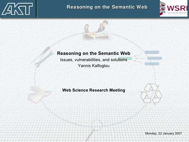 Reasoning on the Semantic Web Reasoning on the Semantic Web Issues, vulnerabilities, and solutions Yannis Kalfoglou Web Sc...