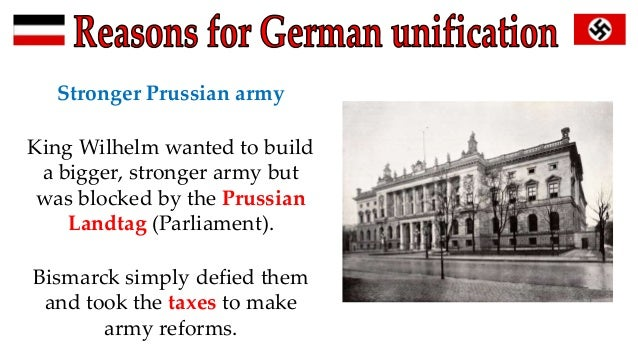 "bismarck german unification essay Others believe that german unification was inevitable and that ""bismarck's' task was made easier by circumstance"" there were many more significant factors before bismarck's time and indeed during his time out with his nfluence that contributed greatly to the eventual unification in 1871."