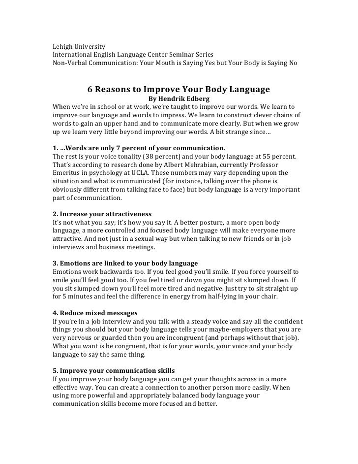 Reasons to improve your body language