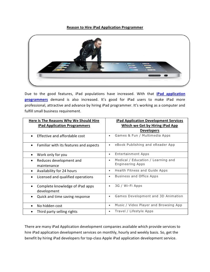 Reason to Hire iPad Application ProgrammerDue to the good features, iPad populations have increased. With that iPad applic...
