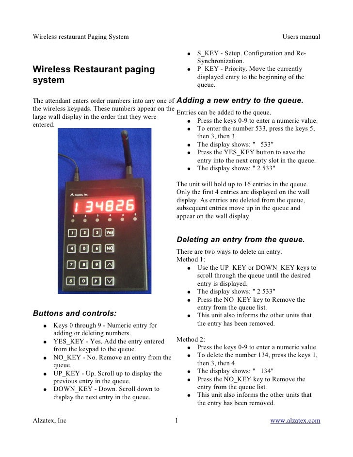 Wireless restaurant Paging System                                                         Users manual                    ...