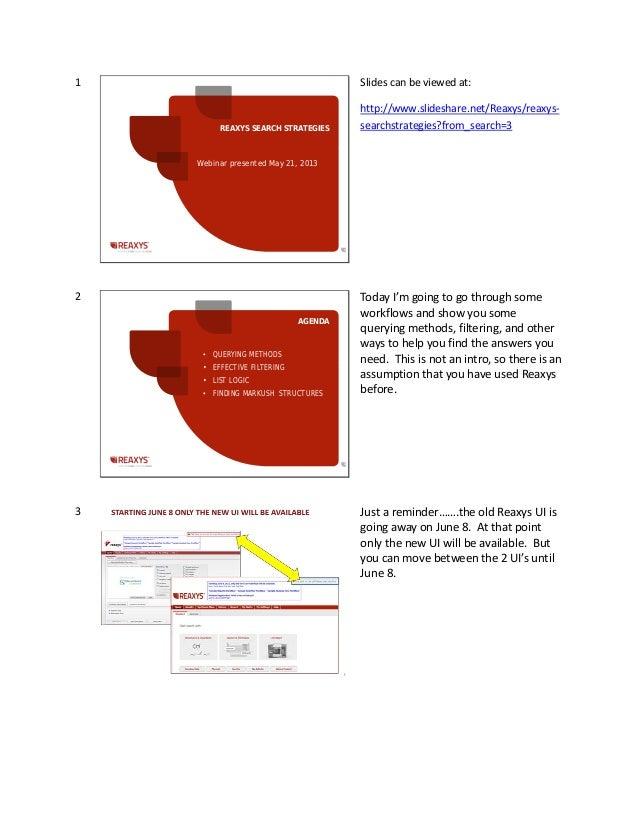 Reaxys Search Strategies webinar script - May 21, 2013